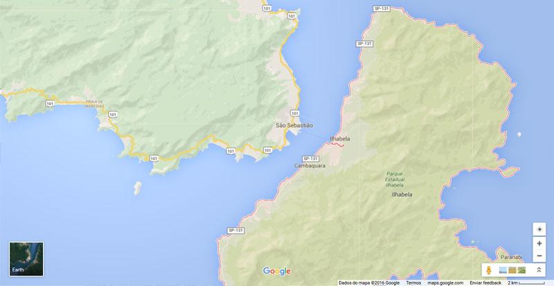 Google Maps - Rodovias São Sebastião e Ilhabela - Obrigatório o uso de farol baixo durante o dia nos trechos urbanos