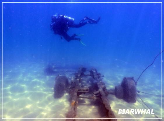 Narwhal Mergulho em Ilhabela - Carroceria no fundo do mar