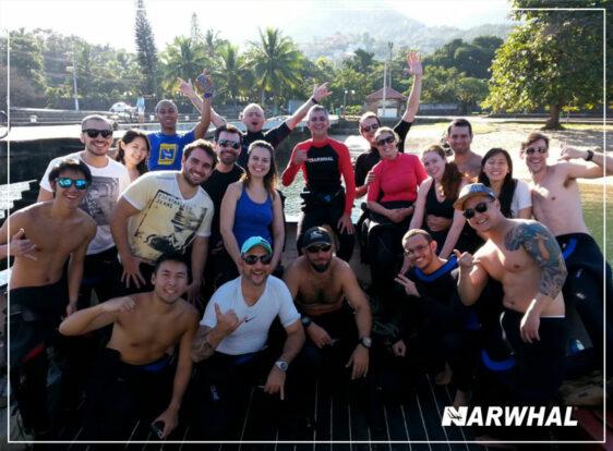 Narwhal Mergulho em Ilhabela - Turma de alunos e instrutores