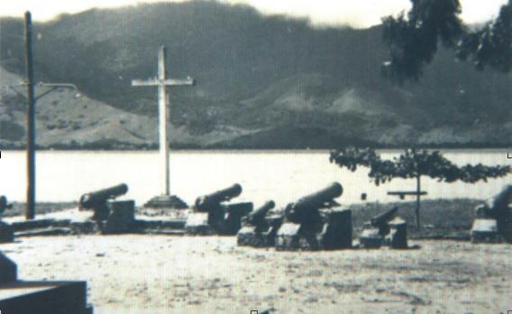 Canhões da artilharia portuguesa em Ilhabela (Acervo Prefeitura de Ilhabela/Secretaria Municipal de Cultura)
