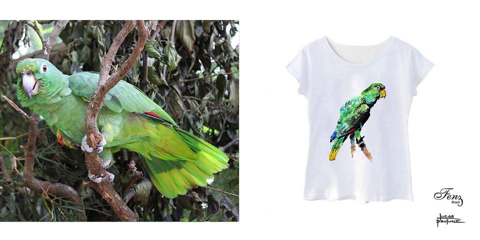 Papagaio-moleiro - Camiseta Fenz Brazil em prol da ASM Cambaquara Ilhabela