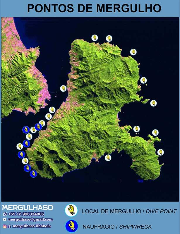 Pontos de Mergulho em Ilhabela - Mergulhaso