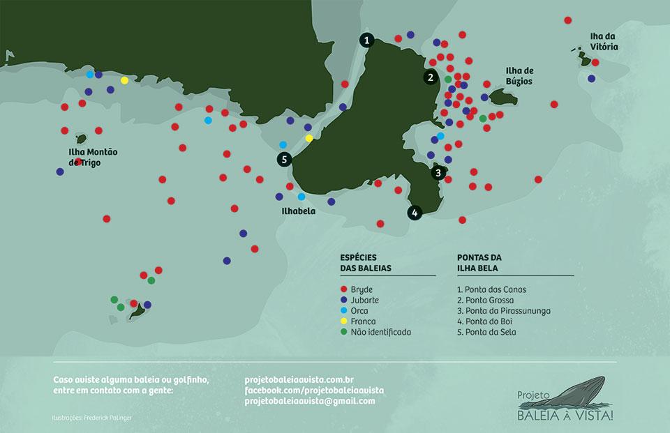 Mapa de avistagens de baleias em Ilhabela, por espécies, em 2018 (Projeto Baleia à Vista)