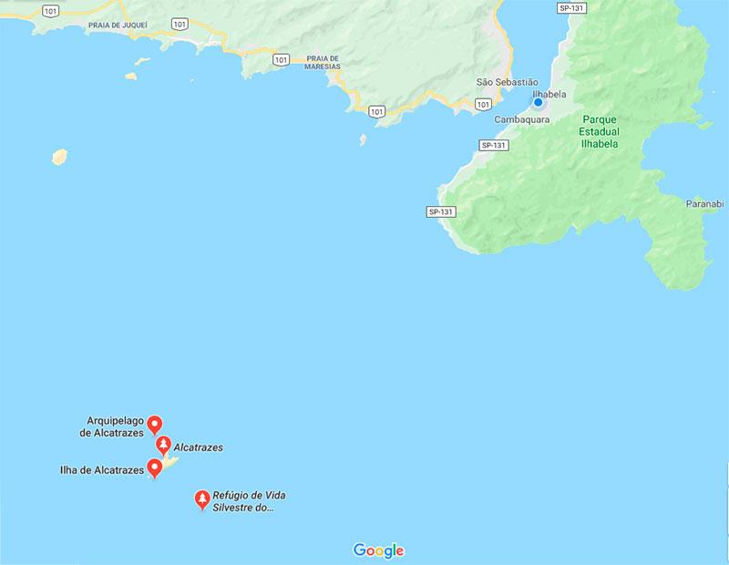 Distância Arquipélago de Alcatrazes - Ilhabela, São Sebastião