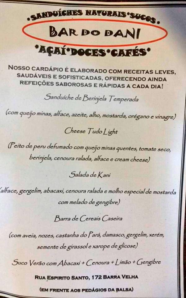 Cardápio - Bar do Dani - Refeições saudáveis em Ilhabela