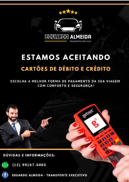 Eduardo Almeida - Transporte Executivo em Ilhabela aceita cartão