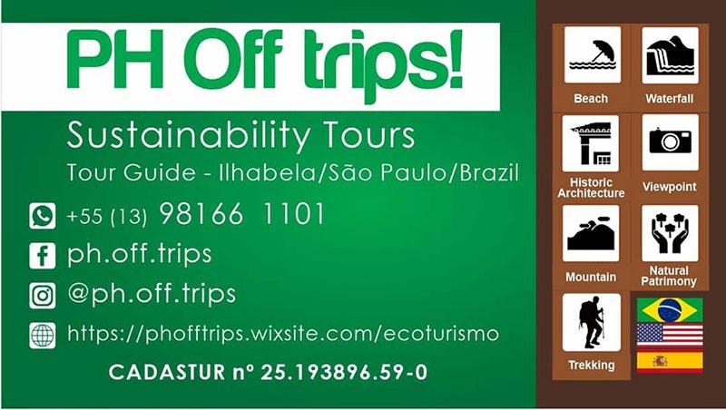 PH Off Trips - Guia de Ecoturismo em Ilhabela - Cadastur - Contatos