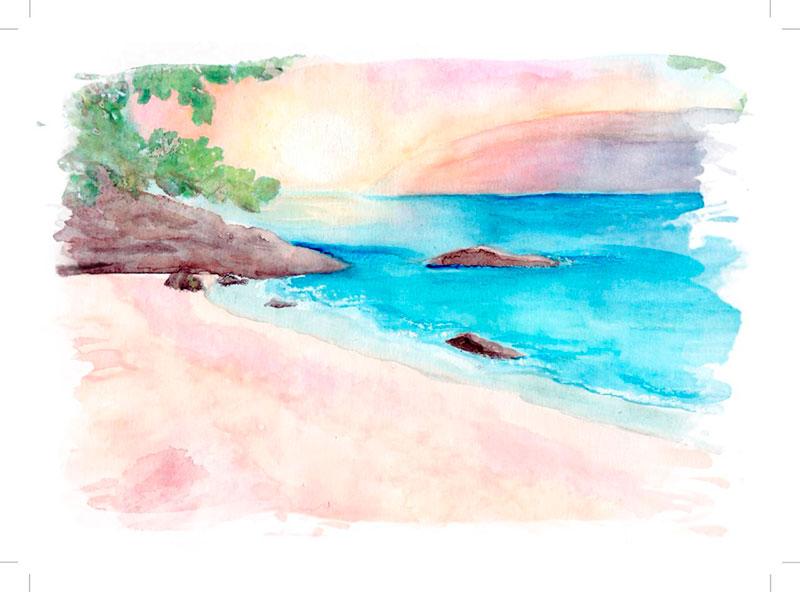 Convite de casamento em aquarela - Praia do Curral, em Ilhabela