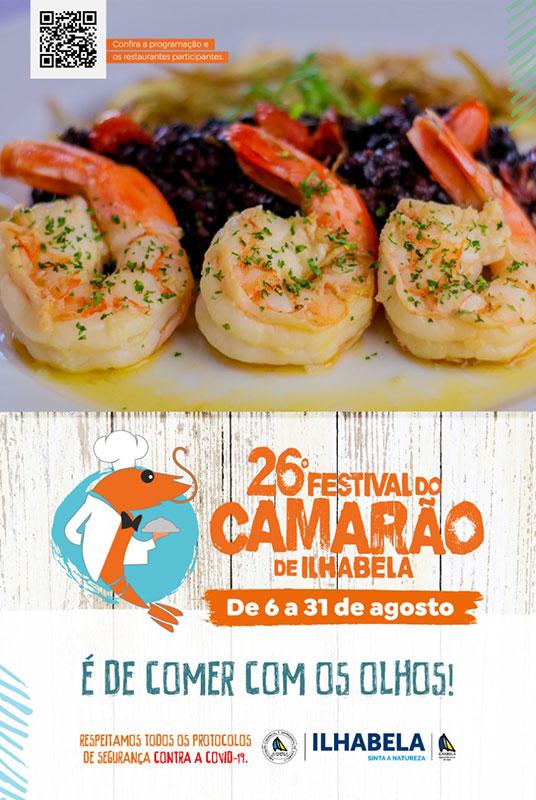 26o Festival do Camarão de Ilhabela vai de 6 a 31 de agosto de 2021